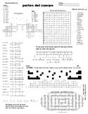 Spanish Puzzle Sheet, Substitute plans, partes del cuerpo