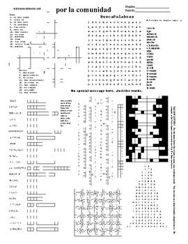 Spanish Puzzle Sheet, Substitue plans, por la comunidad