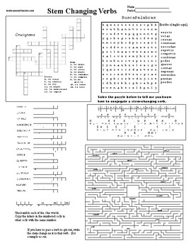 Spanish sub plans, puzzle sheet, stem changing verbs
