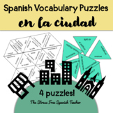 Spanish Puzzles Ciudad City Around Town Vocabulary
