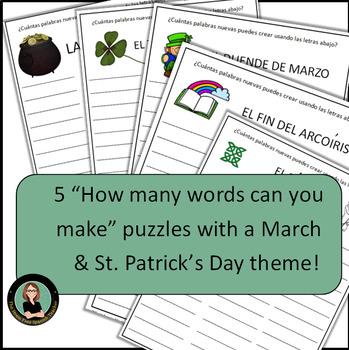 Spanish Puzzles: Marzo y el dia de San Patricio: March & St. Patrick's Day!
