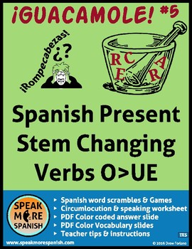 Spanish Puzzles Stem Changing Verbs O>UE. Verbos con cambios O>UE Rompecabezas