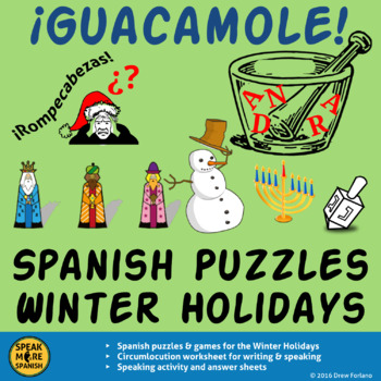 Spanish Puzzles for Winter Holidays with Speaking.  Rompecabezas del Invierno