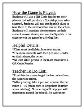 Spanish QR Code Scavenger Hunt - Places around School