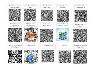 Spanish QR codes sheet for grammatical terminology and vocabulary