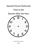Spanish Quarter-After Time Picture Cards - Black and White Clocks