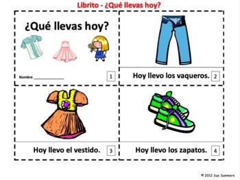 Spanish Clothing Emergent Reader Booklet - Que Llevas