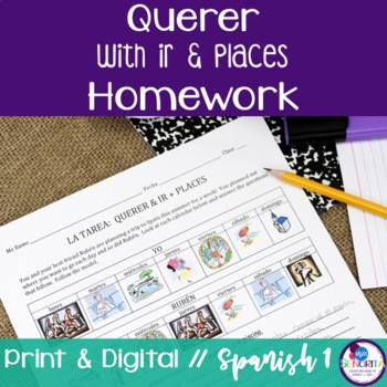 Spanish Querer with Ir and Places Homework