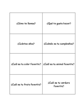 Spanish Question Cards