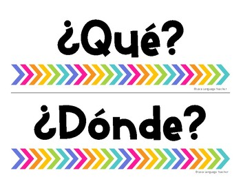 Spanish Question Word Signs FREE