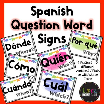 Spanish Question Word Signs ~ Water Color themed