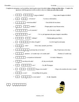 Spanish Question Words Double Puzzle