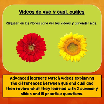 Spanish Question Words, Interrogatives Game, Including Qué Versus Cuál, Cuáles