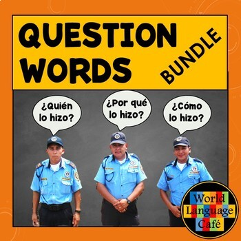 Spanish Question Words, Practice, Games, Signs, Quizzes, Songs, Big Bundle