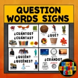 Spanish Question Words, Interrogatives, Interrogativos, Signs, Posters