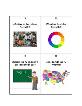 Spanish Question Words-Interrogatives TASK CARDS