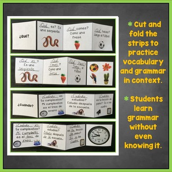 Spanish Question Words, Interrogatives Interactive Notebook Trifold Flashcards