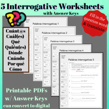 Spanish Interrogatives  Question Words Worksheet - fill in the question word