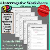 Spanish Interrogatives  Question Words Worksheet - fill in