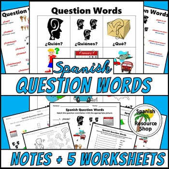 spanish question words picture notes and practice worksheets tpt. Black Bedroom Furniture Sets. Home Design Ideas