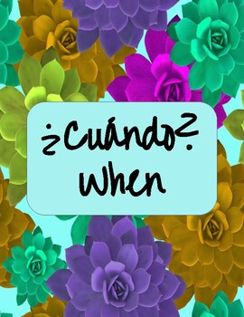 Spanish Question Words Posters - Succulent Theme!
