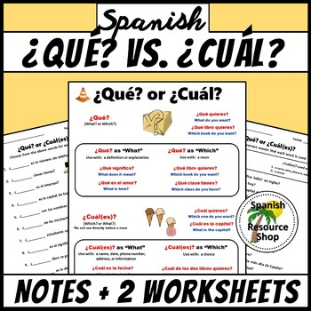 Spanish Question Words Que Vs Cual Notes And Practice Worksheets