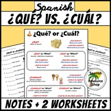 Spanish Question Words Que vs. Cual Notes and Practice Worksheets