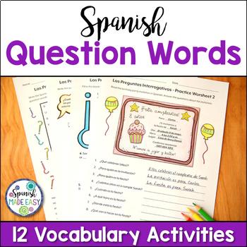 Spanish Question Words Vocabulary Bundle