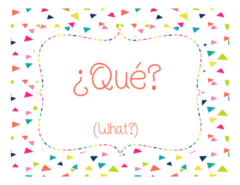 Spanish Question Words Wall Cards
