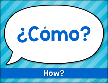 Palabras Interrogativas (Question Words) Spanish Word Wall Posters