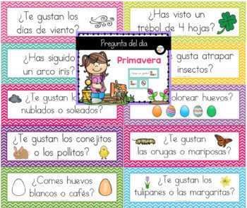 Spanish: Question of the Day Four Seasons Bundle (Pocket Chart Cards)