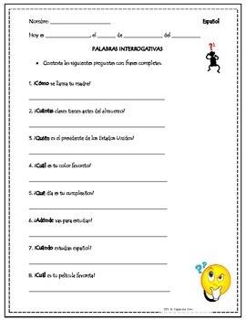 spanish question words practice interrogativas tpt. Black Bedroom Furniture Sets. Home Design Ideas