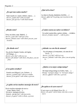Spanish  Questions  Modified Speed Dating Whole Class Speaking