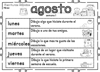 Spanish Quick Writes-Escrituras Rapidas Para Kinder y Primer Grado