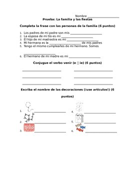 Spanish - Quiz - Family Party