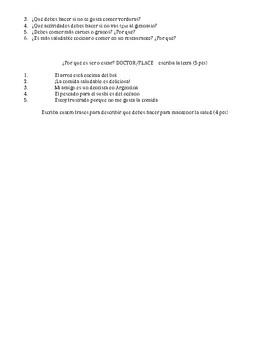 Spanish - Quiz - Food & Health & IR Verbs & Ser/Estar