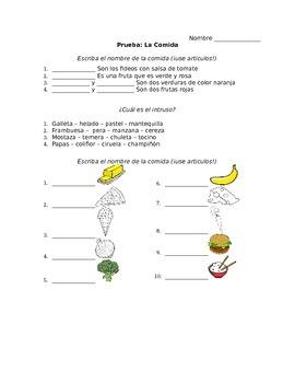 Spanish - Quiz - Foods