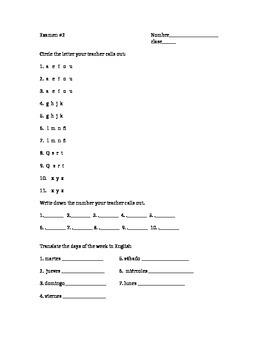 Spanish Quiz - alphabet, numbers, days, dates, weather, colors