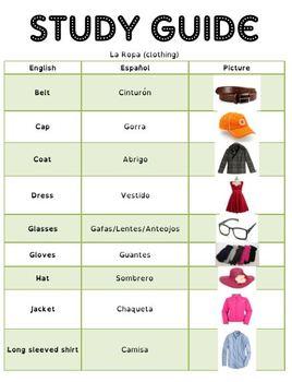 Spanish Quiz and Study Guide: La Ropa