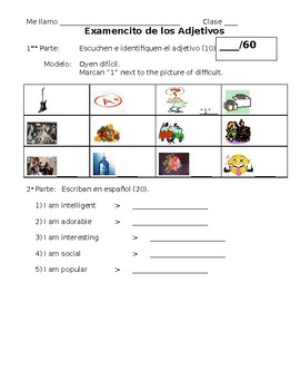 Spanish Quiz on Cognate Adjective Vocabulary and Agreement