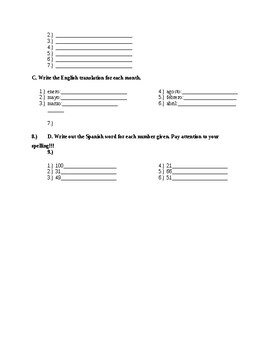 Spanish Quiz on Letters/Spelling, Days, Months, Numbers, Greetings