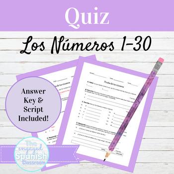 Spanish Quiz on Numbers 1-30 Prueba de Los Números