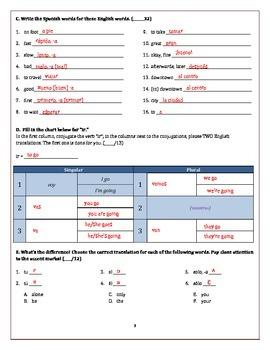 Spanish Quiz/Test