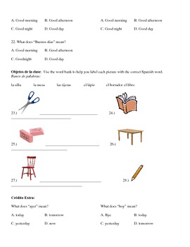 Spanish Quiz/Test- Days,Months, classroom objects, basic greetings