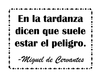Spanish Quotes: 20 Posters of Cervantes Quotes in Spanish in Black and White
