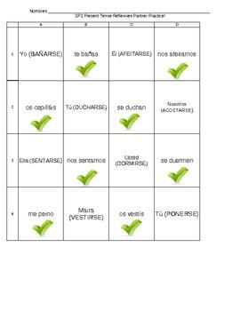 Spanish REFLEXIVE Verbs Communicative Partner Activity