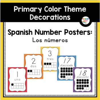 Spanish: Wavy Rainbow Number Posters (Los Números)