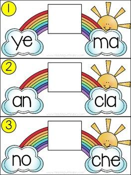 Spanish: Rainbow Theme Syllable Learning Station (Set 2)
