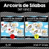 Spanish: Rainbow Theme Syllable Learning Station Set 1 and 2 Bundled