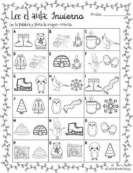 Spanish Read / Write the Room: Winter
